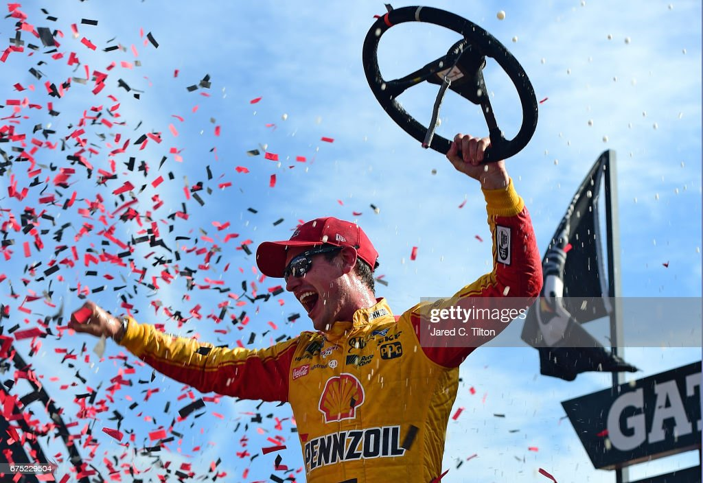 Joey Logano, driver of the #22 Shell Pennzoil Ford, celebrates in Victory Lane after winning the Monster Energy NASCAR Cup Series Toyota Owners 400 at Richmond International Raceway on April 30, 2017 in Richmond, Virginia.