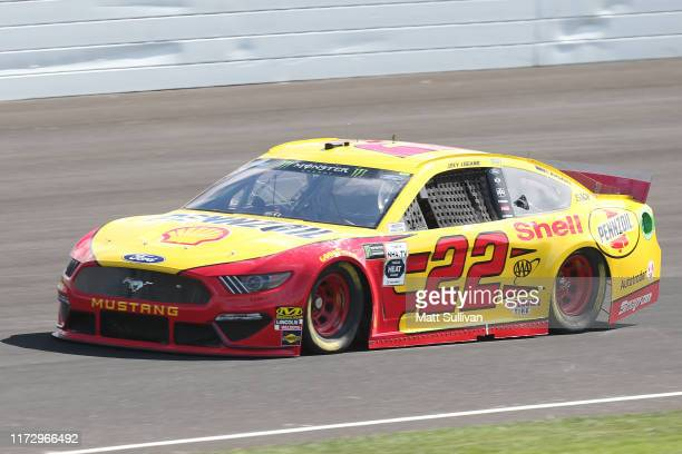 Joey Logano, driver of the Shell Pennzoil Ford, drives during practice for the Monster Energy NASCAR Cup Series Big Machine Vodka 400 at Indianapolis...