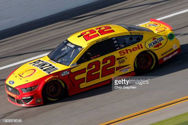 Joey Logano, driver of the Shell Pennzoil Ford, drives during the NASCAR Cup Series O'Reilly Auto Parts 253 at Daytona International Speedway on...