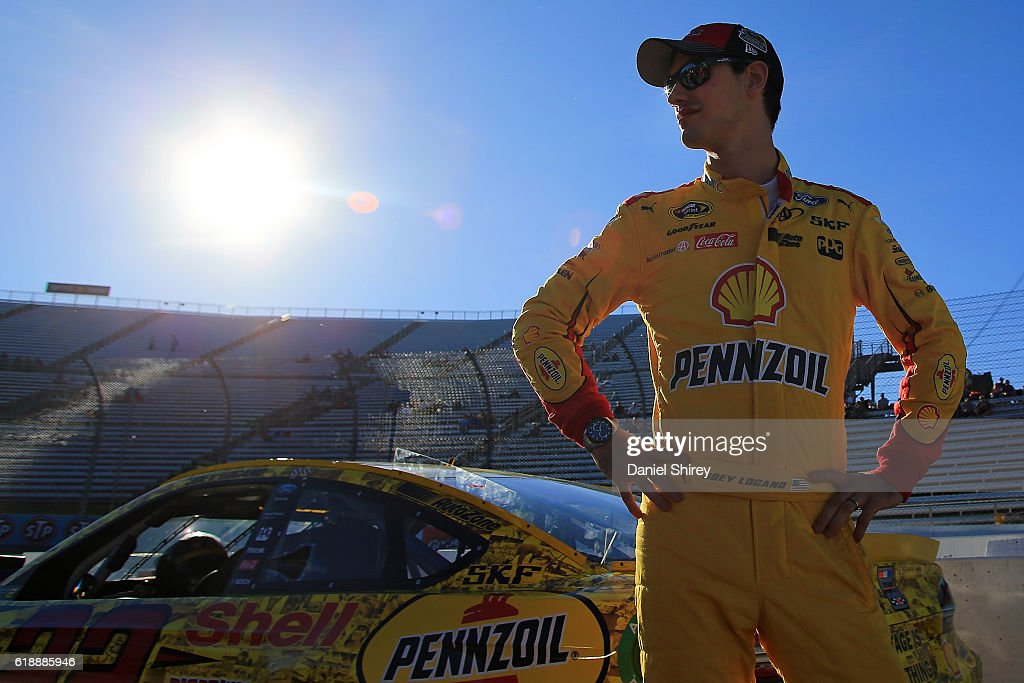 Joey Logano, driver of the #22 Shell Pennzoil Ford, looks on prior to qualifying for the NASCAR Sprint Cup Series Goody's Fast Relief 500 at Martinsville Speedway on October 28, 2016 in Martinsville, Virginia.