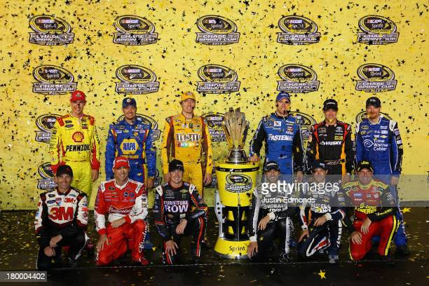 Joey Logano driver of the Shell Pennzoil Ford Martin Truex Jr driver of the NAPA Auto Parts Toyota Kyle Busch driver of the MM's American Heritage...