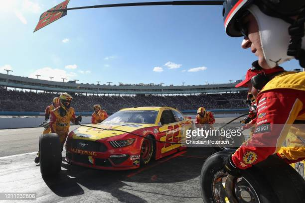 Joey Logano driver of the Shell Pennzoil Ford pits during the NASCAR Cup Series FanShield 500 at Phoenix Raceway on March 08 2020 in Avondale Arizona