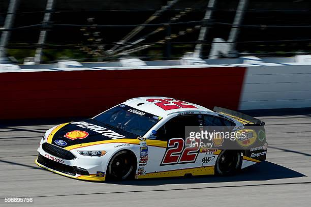 Joey Logano driver of the Shell Pennzoil Ford practices for the NASCAR Sprint Cup Series Bojangles' Southern 500 at Darlington Raceway on September 3...