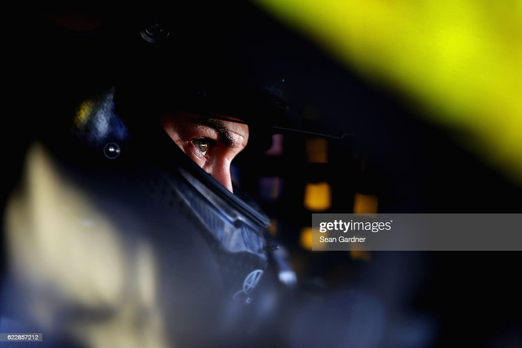 Joey Logano, driver of the #22 Shell Pennzoil Ford, sits in his car during practice for the NASCAR Sprint Cup Series Can-Am 500 at Phoenix International Raceway on November 12, 2016 in Avondale, Arizona.