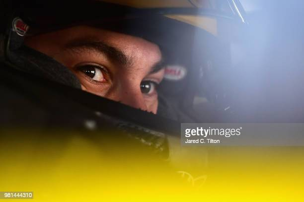 Joey Logano driver of the Shell Pennzoil Ford sits in his car during practice for the Monster Energy NASCAR Cup Series Toyota/Save Mart 350 at Sonoma...