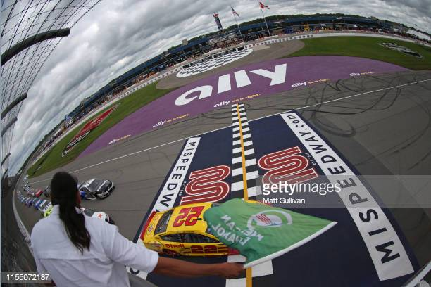 Joey Logano driver of the Shell Pennzoil Ford takes the green flag to start the Monster Energy NASCAR Cup Series FireKeepers Casino 400 at Michigan...