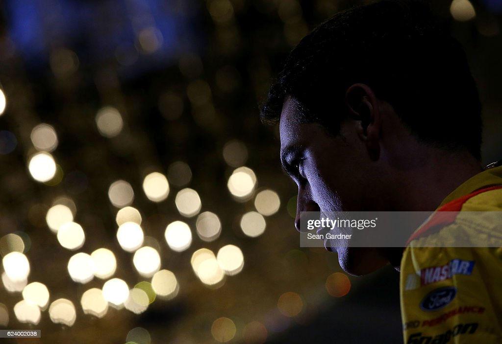 Joey Logano, driver of the #22 Shell Pennzoil Ford, talks to the media during media day for the NASCAR Sprint Cup Series Championship at the Loews Hotel on November 17, 2016 in Miami Beach, Florida.