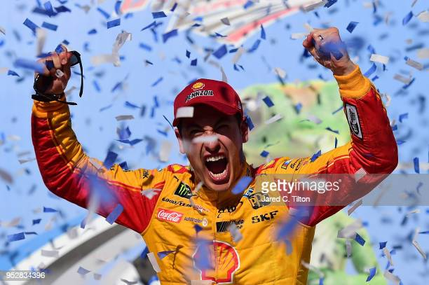 Joey Logano driver of the Shell Pennzoil/Autotrader Ford celebrates in Victory Lane after winning the Monster Energy NASCAR Cup Series GEICO 500 at...