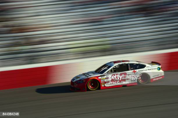 Joey Logano driver of the Shell Pennzoil/Red Cross Ford qualifies for the Monster Energy NASCAR Cup Series Federated Auto Parts 400 at Richmond...