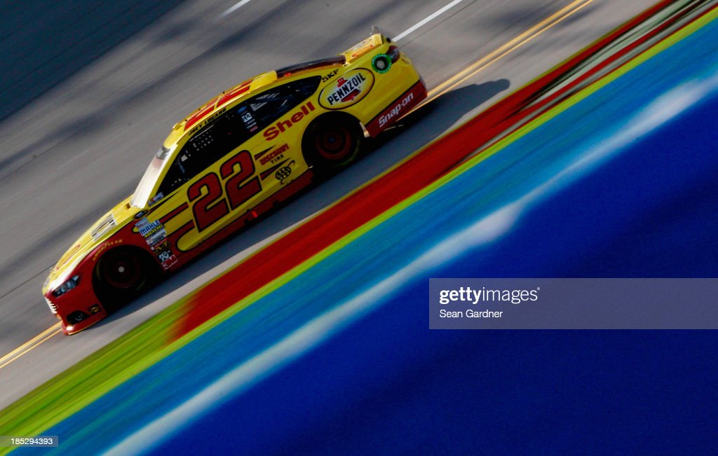 Joey Logano, driver of the #22 Shell-Pennzoil Ford, practices for the NASCAR Sprint Cup Series 45th Annual Camping World RV Sales 500 at Talladega Superspeedway on October 18, 2013 in Talladega, Alabama.