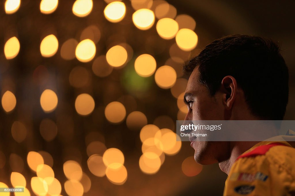 Joey Logano, driver of the #22 Shell-Pennzoil, talks to the media during media day for the NASCAR Sprint Cup Series Championship at the Loews Hotel on November 17, 2016 in Miami Beach, Florida.