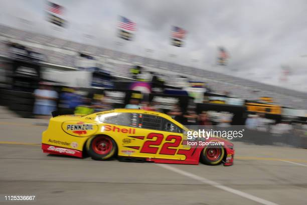 Joey Logano driver of the Team Penske Shell Pennzoil Ford Mustang during final practice for the Daytona 500 on February 16 2019 at Daytona...