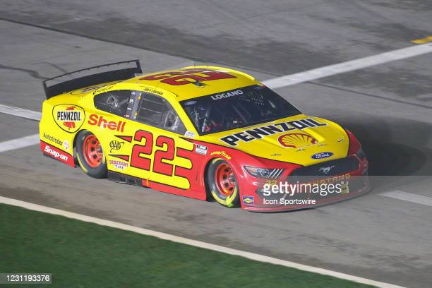 Joey Logano, driver of the Team Penske Shell Pennzoil Ford Mustang, during the Daytona 500 on February 14, 2021 at Daytona International Speedway in...