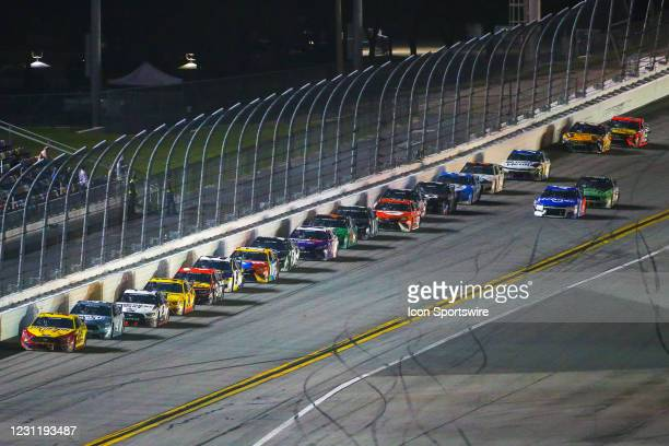Joey Logano, driver of the Team Penske Shell Pennzoil Ford Mustang, leads the field during the Daytona 500 on February 14, 2021 at Daytona...