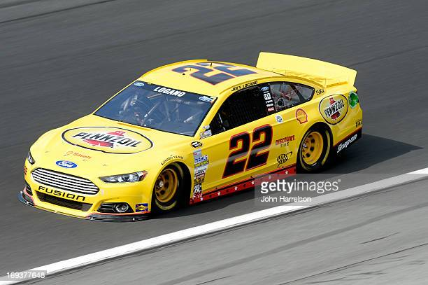 Joey Logano drives the ShellPennzoil Ford during practice for the NASCAR Sprint Cup Series CocaCola 600 at Charlotte Motor Speedway on May 23 2013 in...