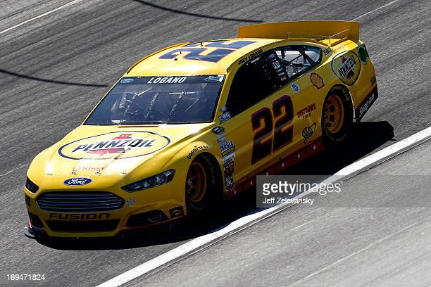 Joey Logano drives the ShellPennzoil Ford during practice for the NASCAR Sprint Cup Series CocaCola 600 at Charlotte Motor Speedway on May 25 2013 in...