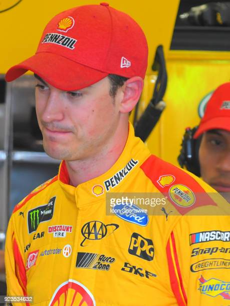 Joey Logano Penske Racing Shell Pennzoil Ford Fusion during practice for the Monster Energy Cup Series Folds of Honor Quiktrip 500 on February 23 at...