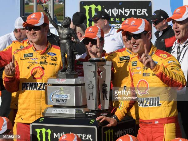Joey Logano Team Penske Ford Fusion Shell Pennzoil celebrating in Victory Lane after winning the Monster Energy Cup Series 49th Annual Geico 500 on...