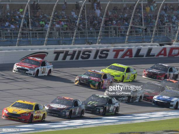 Joey Logano Team Penske Ford Fusion Shell Pennzoil leads the field through the trioval during the Monster Energy Cup Series 49th Annual Geico 500 on...