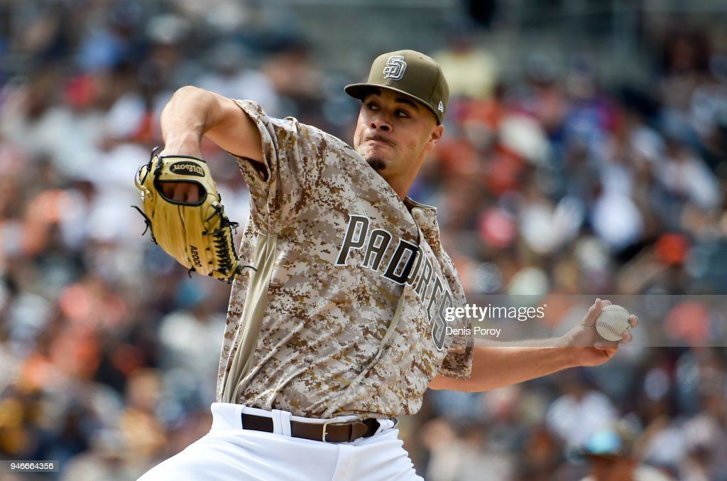 Joey Lucchesi #37 of the San Diego Padres pitches during the fifth inning of a baseball game against the San Francisco Giants at PETCO Park on April 15, 2018 in San Diego, California. All players are wearing #42 in honor of Jackie Robinson Day.