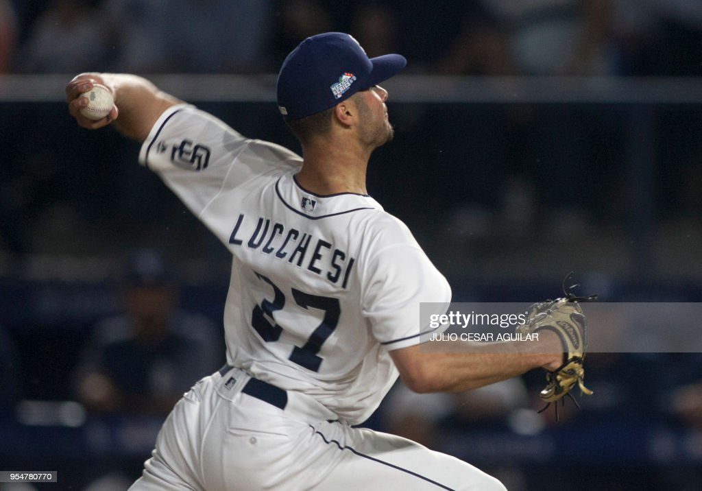 Joey Lucchesi of the San Diego Padres pitches during the first inning of the MLB game against the Los Angeles Dodgers at Monterrey Stadium in Monterrey Nuevo Leon on May 4, 2018.