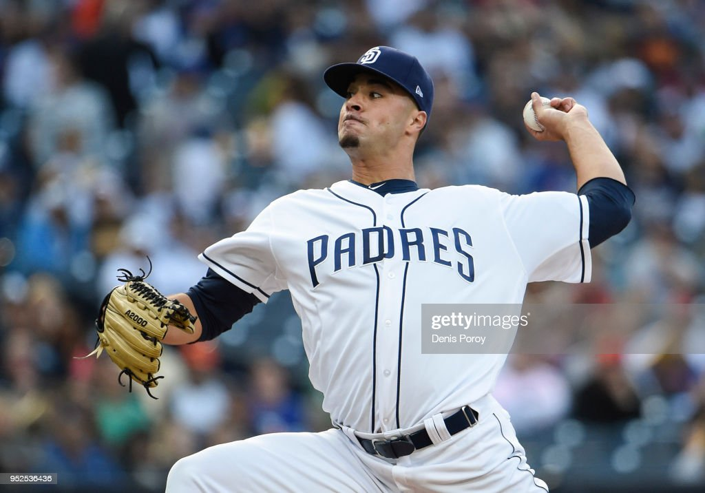 Joey Lucchesi #37 of the San Diego Padres pitches during the second inning of a baseball game against the New York Mets at PETCO Park on April 28, 2018 in San Diego, California.