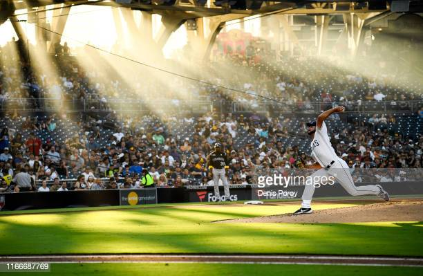 Joey Lucchesi of the San Diego Padres pitches during the third inning of a baseball game against the San Colorado Rockies at Petco Park September 7,...