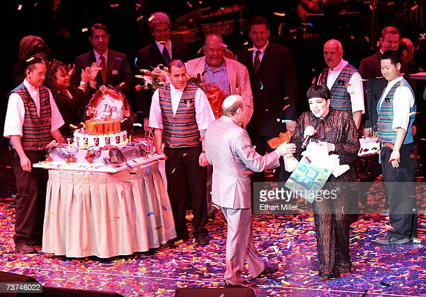 Joey Luft celebrates with his half-sister, entertainer Liza Minnelli , after she performed the first concert of her three-night run at the Luxor...