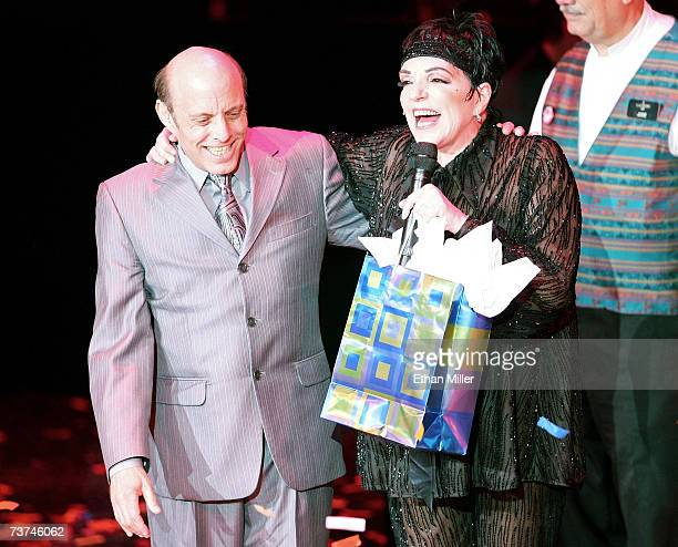 Joey Luft celebrates with his half-sister, entertainer Liza Minnelli, after she performed the first concert of her three-night run at the Luxor...