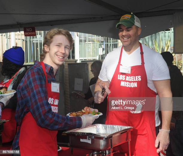 Joey Luthman and Brandon Molale attend The Los Angeles Mission's Christmas Celebration On Skid Row held at Los Angeles Mission on December 22 2017 in...