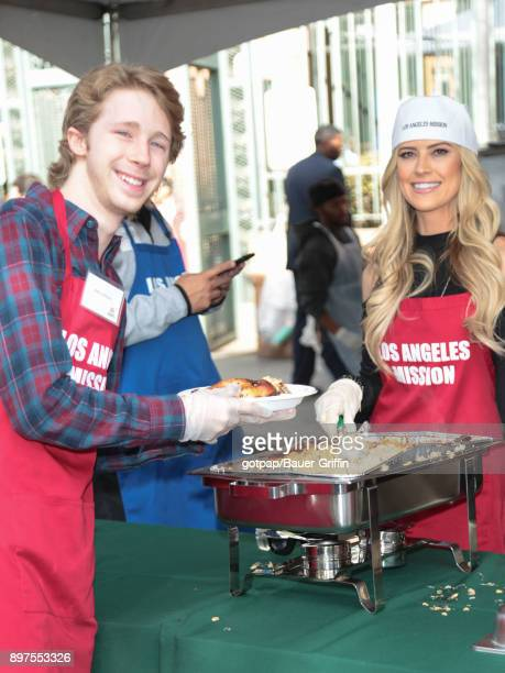 Joey Luthman and Christina El Moussa are seen attending Christmas Meal for The Homeless at LA Mission on December 22 2017 in Los Angeles California