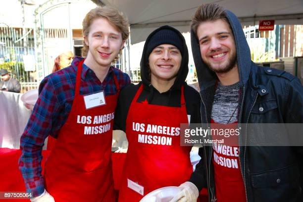 Joey Luthman Ryan Ochoa and Brandon Tyler Russell attend Christmas Celebration on Skid Row at Los Angeles Mission on December 22 2017 in Los Angeles...