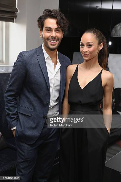 Joey Maalouf and Cara Santana attend The Glam App Launches in New York on April 23 2015 in New York City
