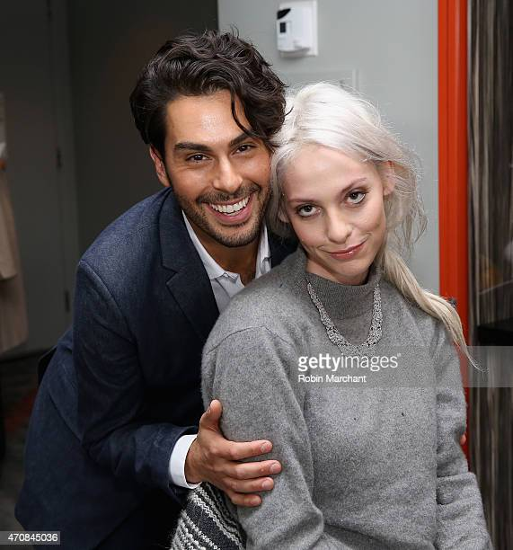 Joey Maalouf and Cory Kennedy attend The Glam App Launches in New York on April 23 2015 in New York City