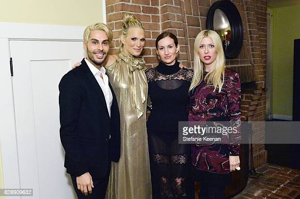 Joey Maalouf Molly Sims Katherine Power and Shelley Gibbs attend The Zoe Report's Box of Style Winter Edition Dinner at Chateau Marmont on November...