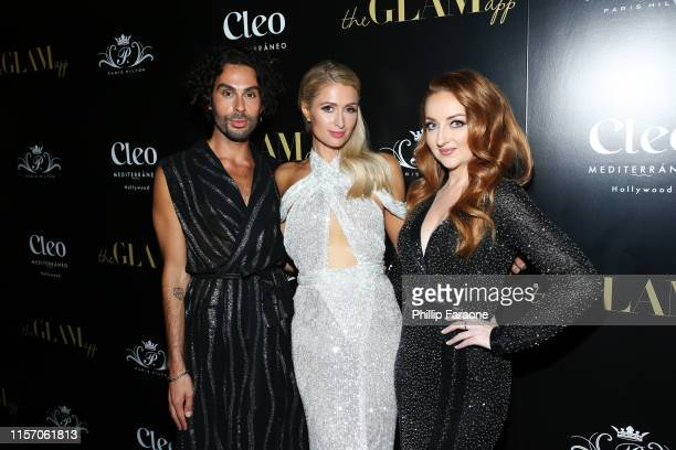 Joey Maalouf Paris Hilton and Katrina Barton attend The Glam App Celebration Event at Cleo on June 19 2019 in Hollywood California