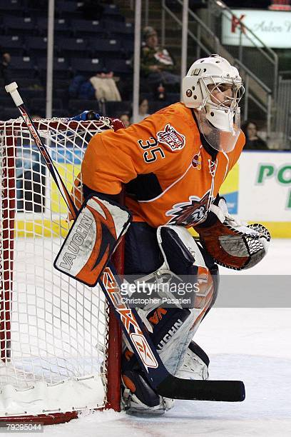 Joey MacDonald of the Bridgeport Sound Tigers tends goal during the second period against the Philadelphia Phantoms on January 23, 2008 at the Arena...
