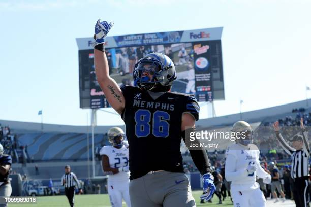 Joey Magnifico of the Memphis Tigers celebrates a touchdown against the Tulsa Golden Hurricane during the first half on November 10, 2018 at Liberty...