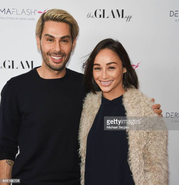 Joey Maloof and Ashley Madekwe attends The Glam App x DERMAFLASH Host Pre-Oscars Suite at Peninsula Hotel on February 24, 2017 in Beverly Hills,...