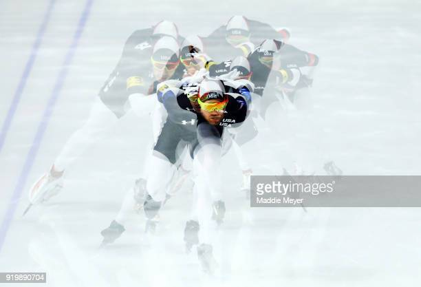 Joey Mantia Emery Lehman and Brian Hansen of the United States compete during the Men's Team Pursuit Speed Skating Quarter Finals on day nine of the...