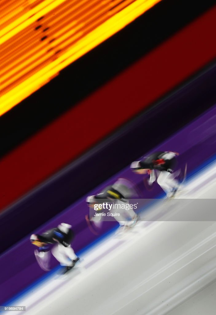 Joey Mantia, Emery Lehman and Brian Hansen of the United States compete during the Men's Team Pursuit Speed Skating Quarter Finals on day nine of the PyeongChang 2018 Winter Olympic Games at Gangneung Oval on February 18, 2018 in Gangneung, South Korea.