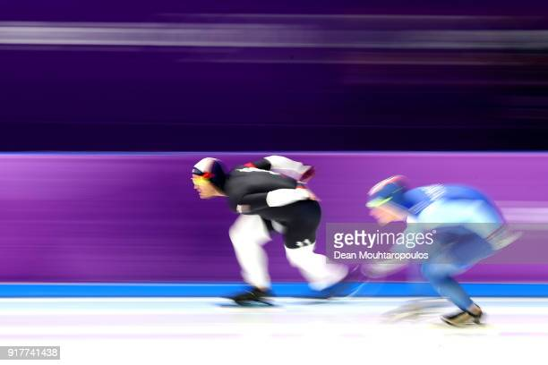 Joey Mantia of the United States and Sverre Lunde Pedersen of Norway compete during the Men's 1500m Speed Skating on day four of the PyeongChang 2018...