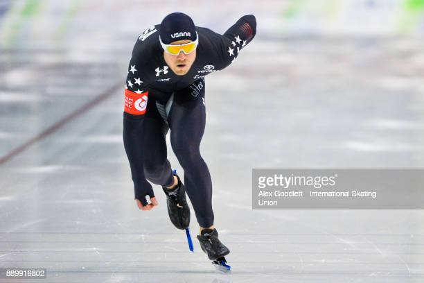 Joey Mantia of the United States competes in the men's 1000 meter final during day 3 of the ISU World Cup Speed Skating event on December 10 2017 in...