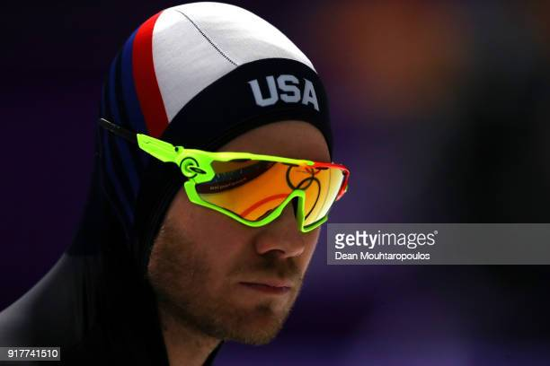 Joey Mantia of the United States looks on during the Men's 1500m Speed Skating on day four of the PyeongChang 2018 Winter Olympic Games at Gangneung...