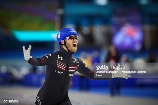Joey Mantia of the United States reacts in the Men's mass start during day 3 of the ISU World Speed Skating Championships at Thialf on February 13,...