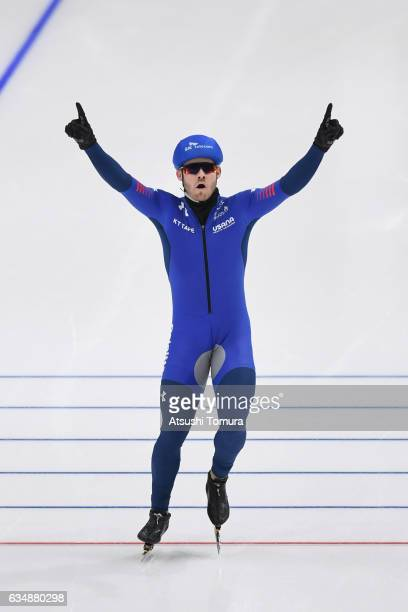Joey Mantia of the USA celebrates after winning the men mass start during the ISU World Single Distances Speed Skating Championships Gangneung Test...