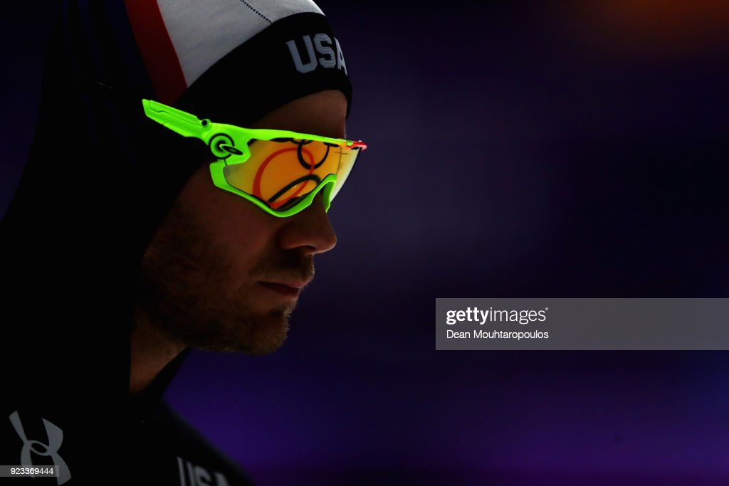Joey Mantia of USA looks on with the rings reflected in his glasses prior to the Men's 1500m Speed Skating on day four of the PyeongChang 2018 Winter Olympic Games at Gangneung Oval on February 13, 2018 in Gangneung, South Korea.