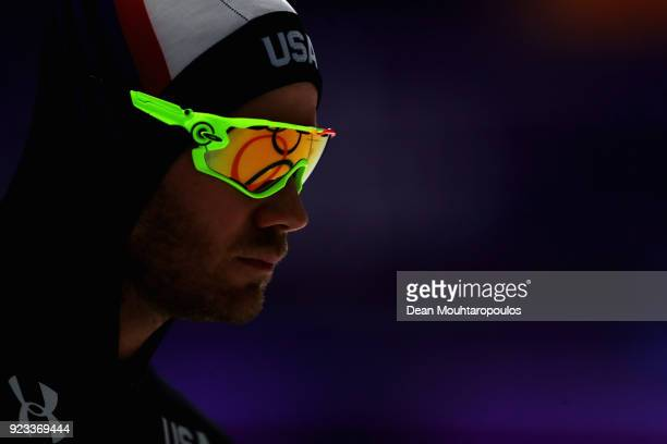 Joey Mantia of USA looks on with the rings reflected in his glasses prior to the Men's 1500m Speed Skating on day four of the PyeongChang 2018 Winter...