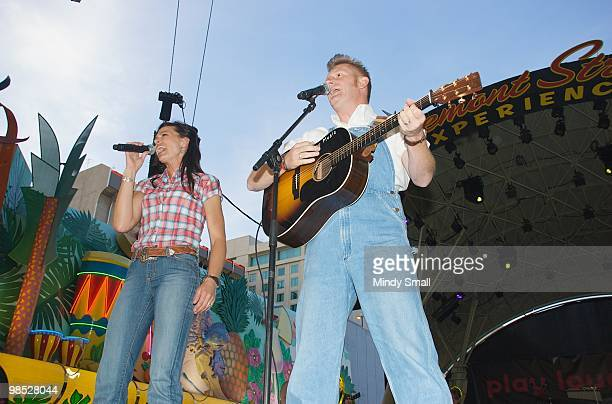Joey Martin Feek and Rory Feek of Joey + Rory perform on Fremont Street on April 17, 2010 in Las Vegas, Nevada.