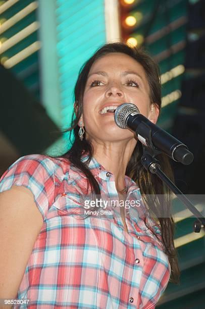 Joey Martin Feek of Joey + Rory performs on Fremont Street on April 17, 2010 in Las Vegas, Nevada.